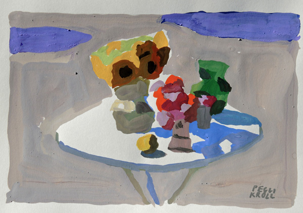 Peggi Kroll-Roberts, Table with Flowers, gouache, 6 x 8.