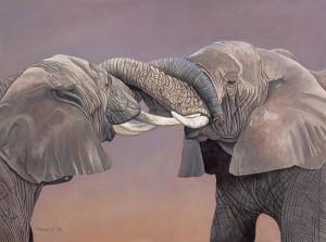 Ed Takacs, Elephant Greeting, acrylic, 12 x 16.