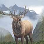 Ed Takacs, Elk in Valley, acrylic, 18 x 24.