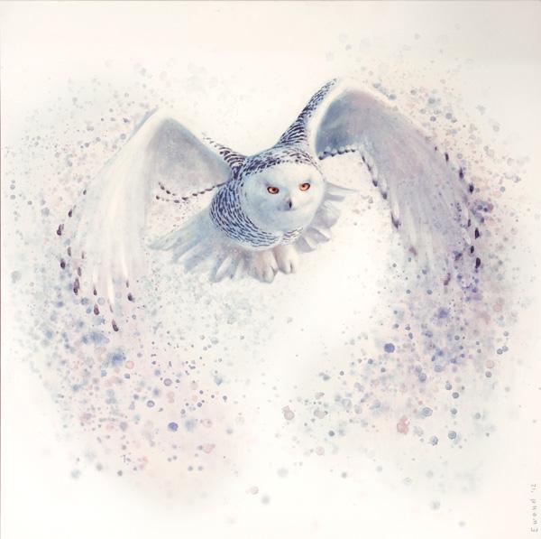 Ewoud de Groot, Taking Off (Snowy Owl), oil, 43 x 43.