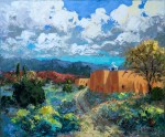 Evelyne Boren, Taos Morada in the Fall, oil, 30 x 36.