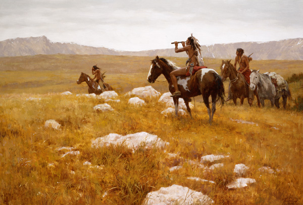 Howard Terpning, The Sound of Buffalo, oil painting at the Jackson Hole Art Auction.