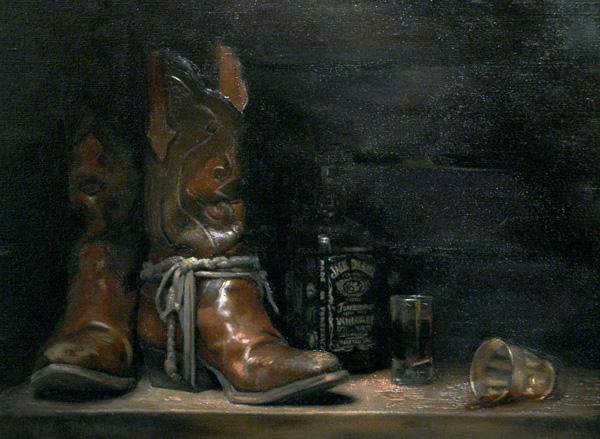 Terra Chapman, Andy's Boots, oil, 22 x 19.