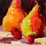 Terrie Lombardi, Dollops of Cherries, oil, 12 x 12.