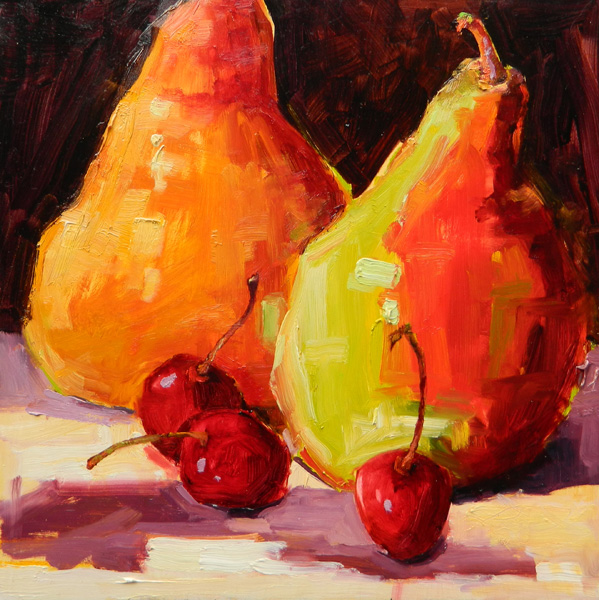 Terrie Lombardi, Dollops of Cherries, oil, 12 x 12.