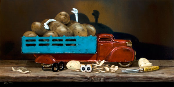 The Chips Are Down, oil, 12 x 24.