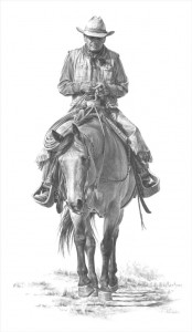 Carrie Ballantyne, The Cowboy Way, graphite, 22 x 13.
