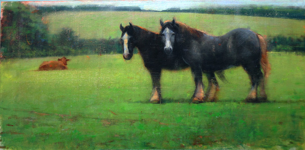 Elizabeth Pollie, The Fellowship, oil, 12 x 24.
