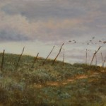 Pem Dunn, The Fence Line, oil, 10 x 20.