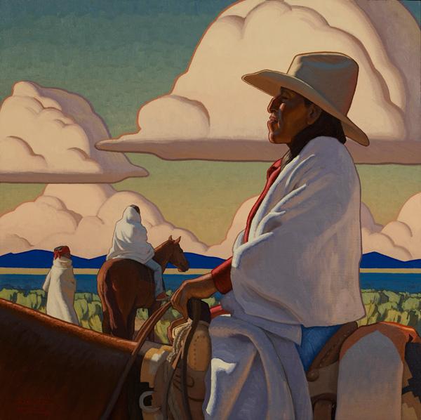 Logan Maxwell Hagege, The Sun Sets Every Day, oil, 40 x 40.