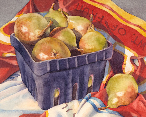 The Weight of Fruit, watercolor, 8 x 10.