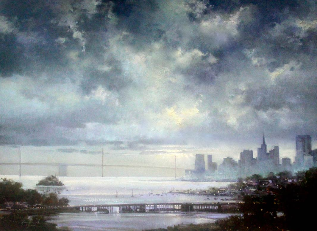 Kirk Randle, The Lifting Fog, San Francisco, oil, 30 x 40.