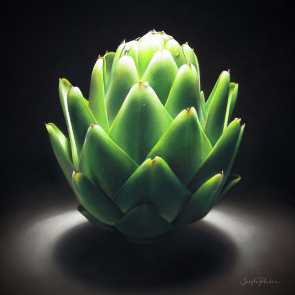 The Artichoke's Audition, pastel, 16 x 16.