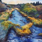 Theresa Andreas-O'Leary, Spring Creek, acrylic/gold leaf, 30 x 24.