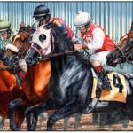 Thomas Allen Pauly, Gates Open They're Racing, oil triptych, 144 x 60.
