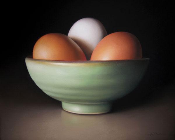 Three Eggs, pastel, 16 x 20.