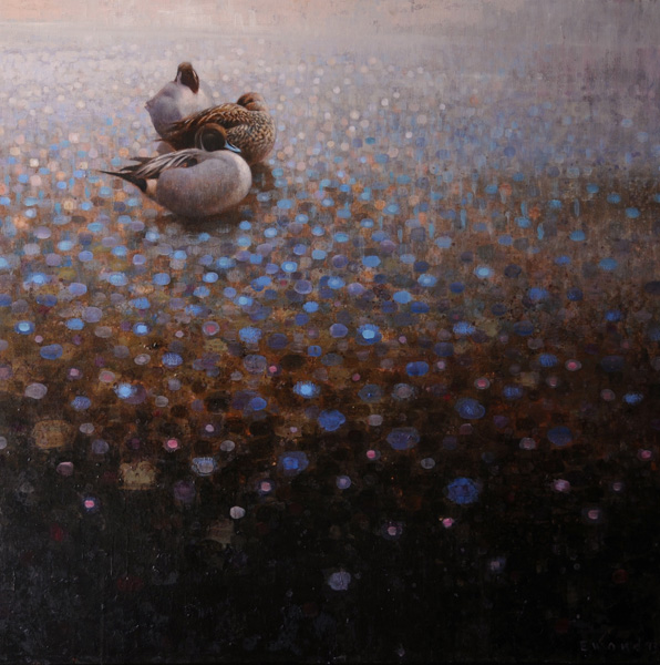 Ewoud de Groot, Three Pintails, oil, 43 x 43.