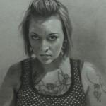 Mervyn Vowles, Tiffany, charcoal/white chalk, 20 x 15.