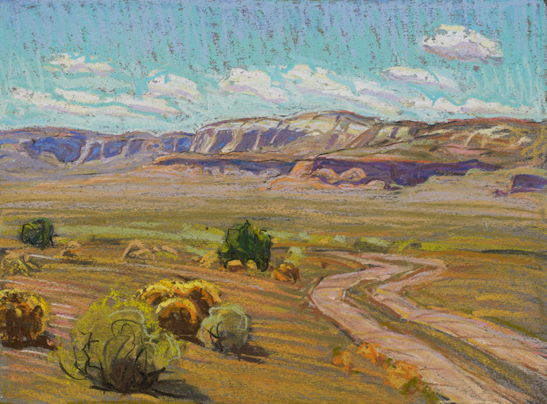 Tim Solliday, Desert Back Road, pastel, 8 x 10.