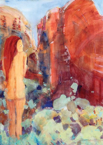 Pamela Findleton, Time Standing Still, watercolor, 30 x 22.