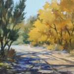 Tina Bohlman, Post Office Rd, Cerrillos, NM, oil, 9 x 12.