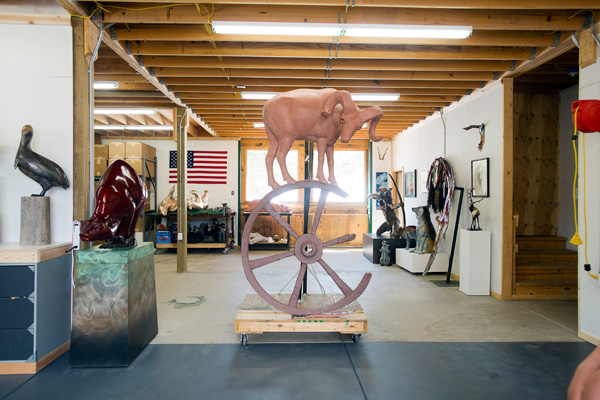 Sculptor Josh Tobey's art studio in Loveland, CO