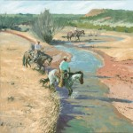 Bruce R. Greene, Tracks on Troublesome Creek, oil, 30 x 30.