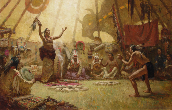 Z.S. Liang, Transferring the Bear Knife, oil, 44 x 70.