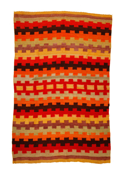 Transitional Period Branded Wearing Blanket, handspun natural and synthetic dyes.