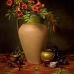 Elizabeth Robbins, Trumpet Vine in Olive Jar, oil, 30 x 24.