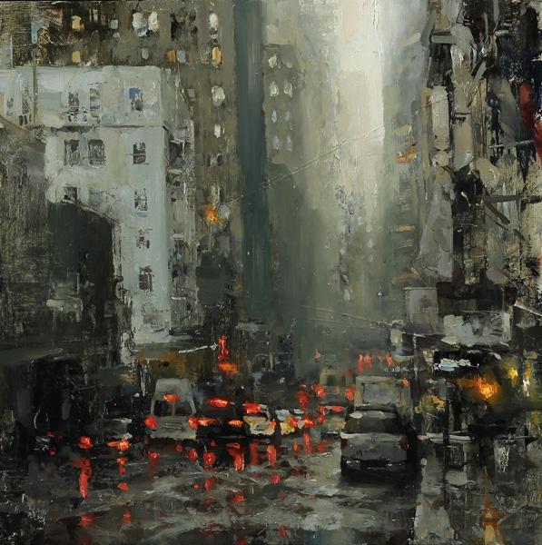 Hsin-Yao Tseng, Bush Street in Rain, 12 x 12.