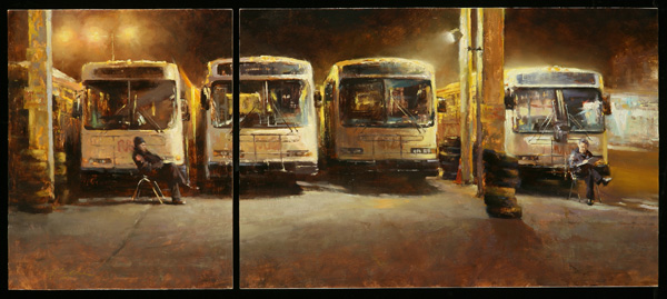 Hsin-Yao Tseng, Late Night Guard (Diptych), oil, 20 x 46.
