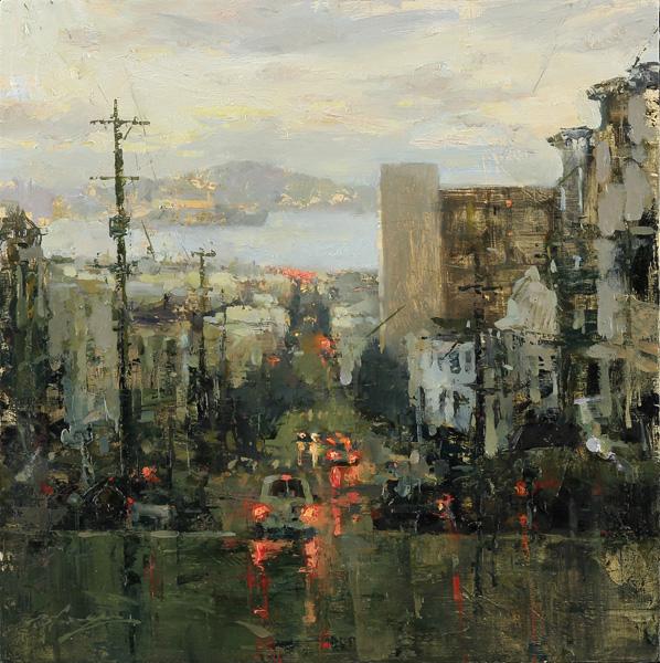 Hsin-Yao Tseng, Toward the Bay, oil, 14 x 14.