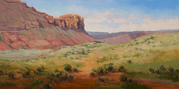 Cecy Turner, Silent Summons, Utah, oil, 15 x 30.