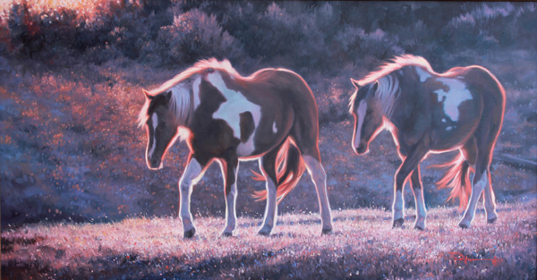 Ty Barhaug, Seeking the Morning Sun, oil, 26 x 51.