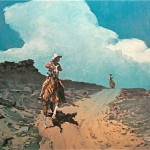 Michael Ome Untiedt, Night Riders and Another Heyes Saddle, oil western painting