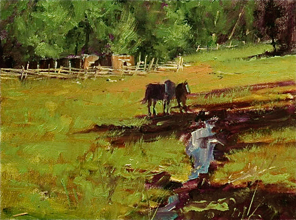 Michael Untiedt, Horses in a Meadow, oil, 9 x 12.