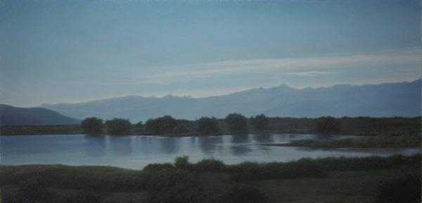 Brett Scheifflee, Under the Western Moon, oil, 8 x 16.