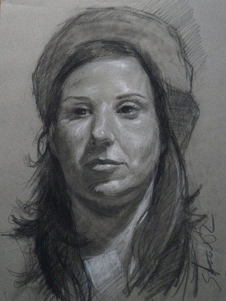 Scott Prior, Untitled, charcoal, 16 x 12.