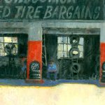 Randy Saffle, Used Tire Bargains, oil, 11 x 14.