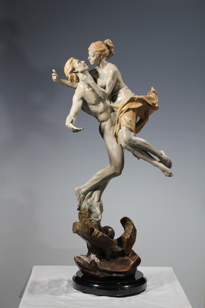 Vala Ola, Falling in Love, bronze, 36 x 16 x 10.