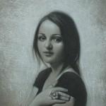 Meghan N. Sours, Vanesa, charcoal, 10 x 15.