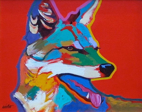 Vermillion Coyote, acrylic, 16 x 20.