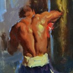 Albin Veselka, Elbow Strike, oil, 10 x 8.