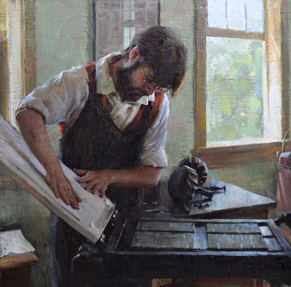 Albin Veselka, Printing Press, oil, 20 x 20.