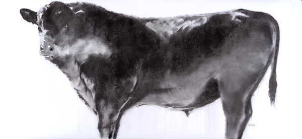 September Vhay, Stalwart Knight Two, charcoal on paper, 36 x 77.