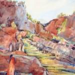 Pamela Findleton, Virgin River, watercolor, 30 x 22.