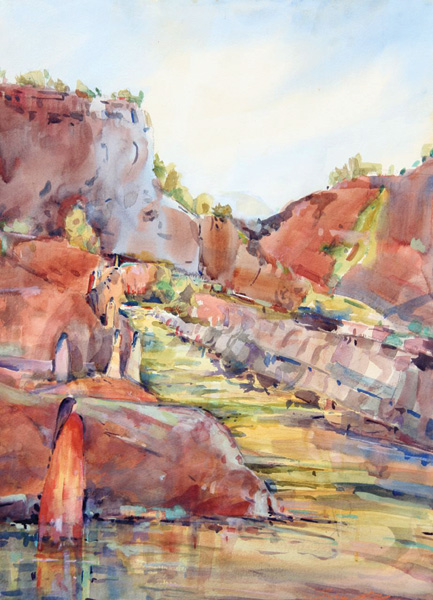 Pamela Findleton, Virgin River, watercolor, 30 x 22.