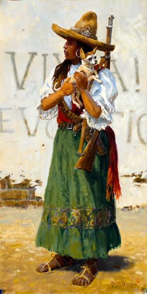 Dave Powell, Viva Chihuahua, oil, 20 x 10.
