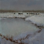 Nancy Bush, Winter Pond, oil, 12 x 12.